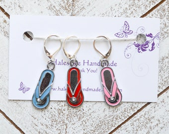 Flip Flops Progress Keepers Stitch Markers Summer Bright Knitting Crochet Sewing Notions Gift Ideas
