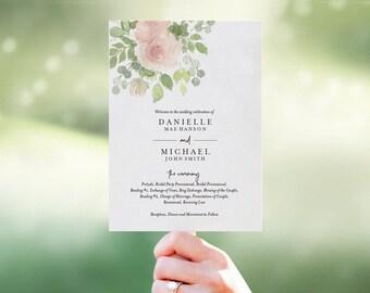 Floral Wedding Program Fan, Wedding Program Template, Fan Template, Bliss Paper Boutique, PDF Instant Download #BPB333_3_1