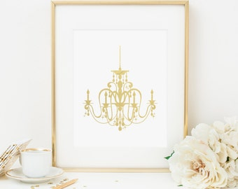 Chandelier Printable Gold Chandelier Wall Art Nursery Chandelier Prints  Gold And White Nursery Decor Boho Chic