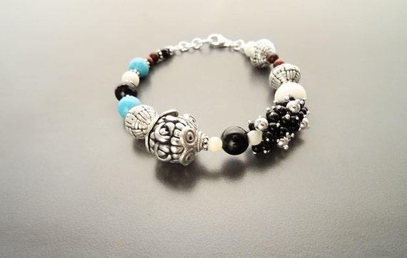 Boho Turquoise Bracelet  - Sterling Silver -Tibetan Gemstone Beads - Indie Bracelet - Boho Bracelet - Hipster Bracelet - Gypsy Bracelet