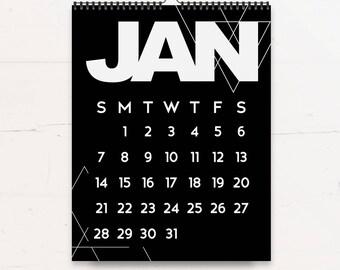 Modern Wall Calendar 2018 -  Minimalist Calendar - Monochrome Wall Calendar - Home Office Decor - Contemporary Decor - Geometric