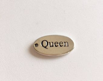 """Sterling Silver Charms-""""Queen"""" Word Charm"""