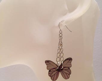 Butterfly earrings beige wood