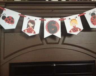 Red Ladybug Birthday Party Mini Banner
