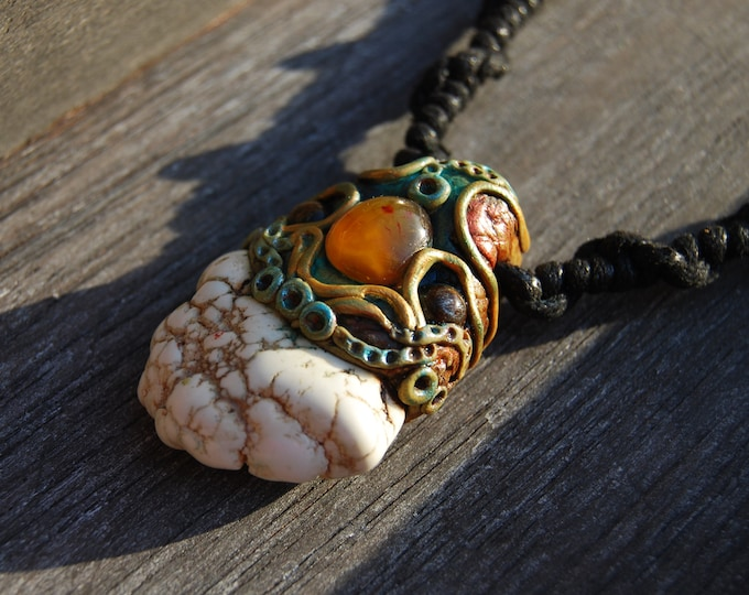 Magnesite with Tiger Eye and Agate Clay Stone Pendant Necklace