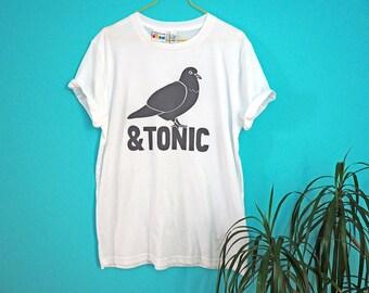 Pigeon & Tonic Handprinted Tshirt, Gin Tee, Funny Unisex T-shirt, Screenprinted Tshirt, Alcohol Tshirt, Drinking Tee, Funny Boyfriend Tshirt