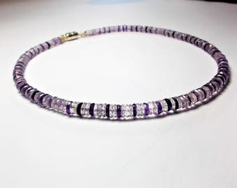 Amethyst necklace with magnetic clasp 925