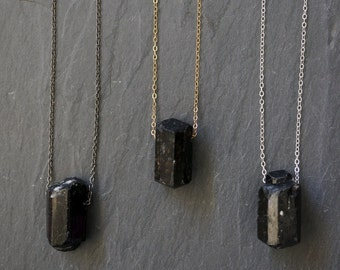 Black Tourmaline / Raw Tourmaline / Stone of Empowerment / Tourmaline Necklace / Tourmaline Pendant