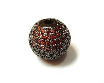 Metal rhinestone-encrusted PF36 0220 shape bead 14mm red round