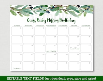 Green Floral Baby Due Date Calendar / Green Floral / Watercolor Floral / Birthday Predictions / INSTANT DOWNLOAD Editable PDF A189