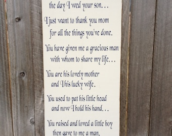 Mother Of The Groom Gift ~Mother-In-Law Gift ~Wedding Sign ~Wedding Shower ~Wedding Gift ~Thank You Parents ~Personalized Wedding ~MIL Gift