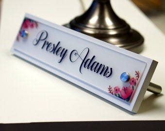 Wood Name Plate Etsy - Office desk name tag template