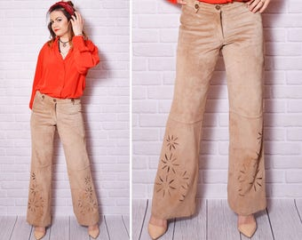 90s  suede leather pants boho trousers high waisted camel leather bell bottom flare country safari cut out flower floral pattern