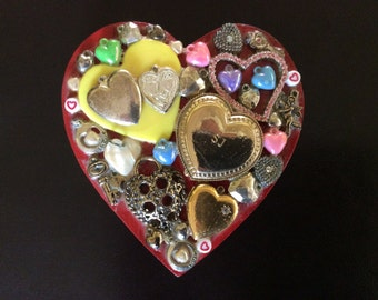 Wood Heart Mixed Media Original, Signed by the Artist