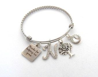 Personalized Teacher Bracelet, Teacher Gift, Gifts for Teachers, Teacher Bangle, Thanks for helping me grow, End of year gift Charm Bracelet