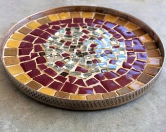 ROUND dish / candle holder mosaic enameled terracotta