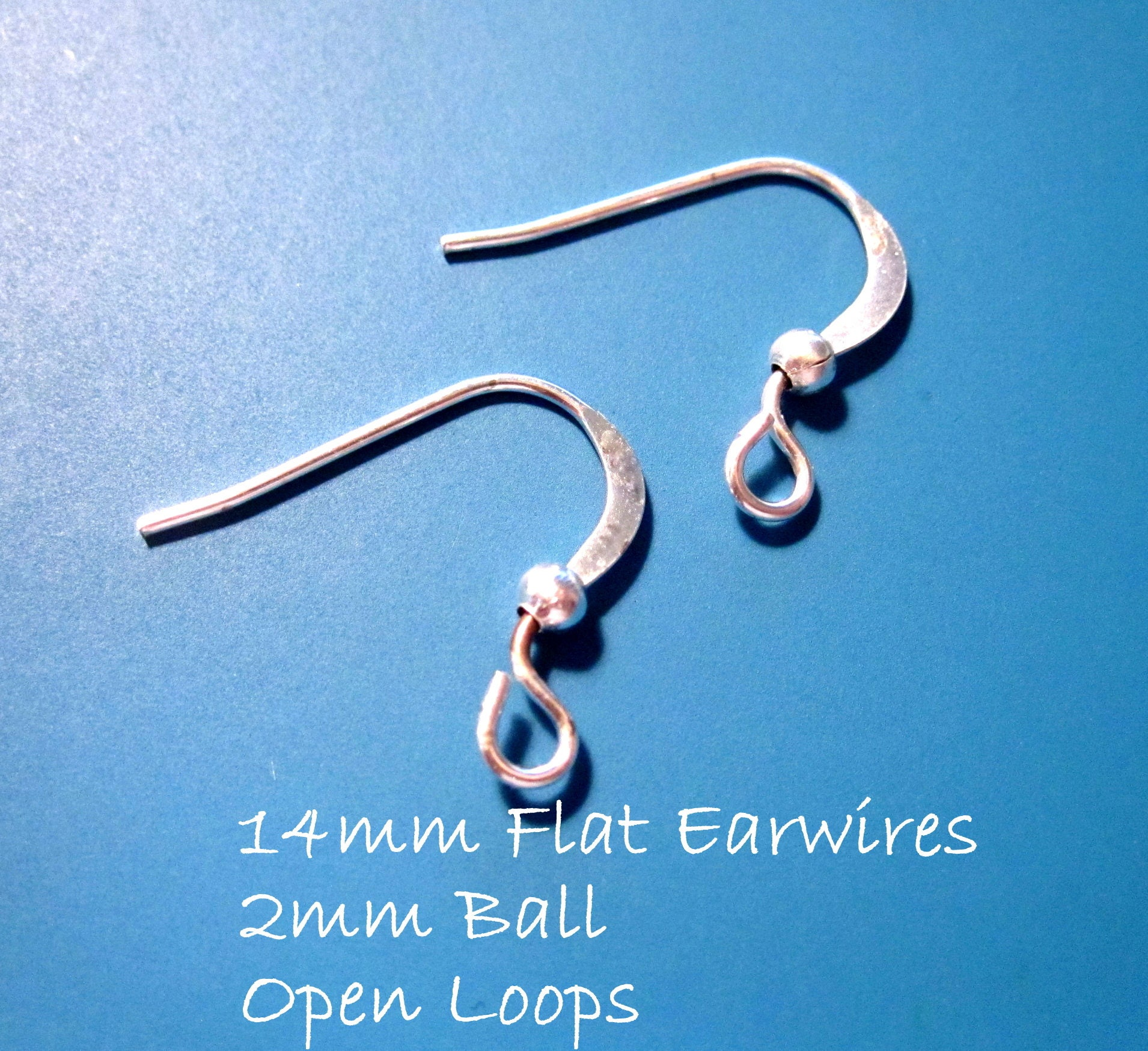 Bright Silver 14mm Earwires Flattened featuring a 2mm ball and open ...