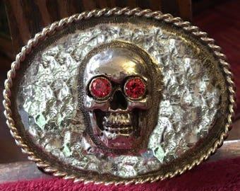 Sterling Silver Skull Belt Buckle
