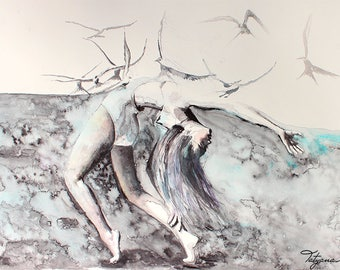 Original Watercolor Painting. Portrait painting of a dancing young girl. Flying birds. Lost & Found