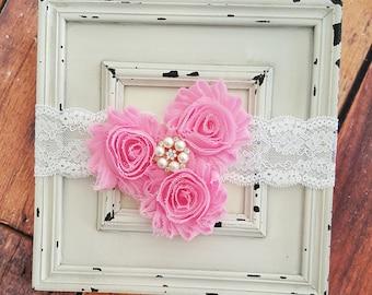Pink and White Headband-Baby Girl Headband-Infant Headband-Shabby Flowers Headband-Toddler Headband-Baby Accessories-Hair Accessories