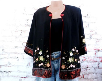 Asian jacket ,Chinese jacket- Oriental jacket - floral embroidered jacket - black Asian jacket - traditional Oriental jacket , # 3