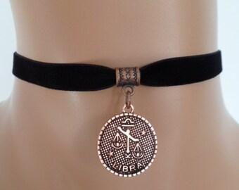 velvet choker, libra choker, libra necklace, stretch ribbon, black velvet, zodiac, copper tone