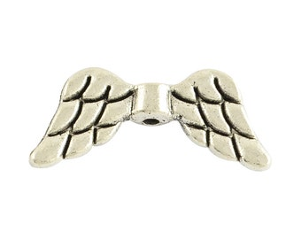 RJ Beads - Package of 10 - Antique Silver (Plated) Angel Wing Beads - Free Shipping!!