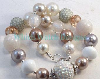 Eleganz... Ausgefallene weiß, Creme, Gold, Taupe und grau Kleinkind Kaugummi Halskette