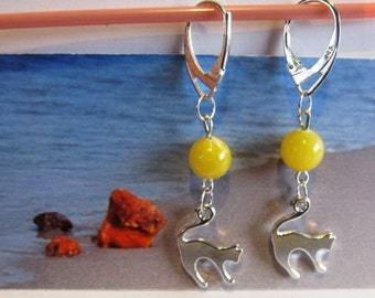 Cat Amber Earrings round yellow Natural Baltic beads opaque 5.1 gr.  silver color french clasp chandelier for catlovers