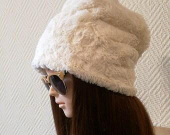 Faux fur hat, winter hat, beautiful hat, womens hat, warm hat, grey hat, ivory hat