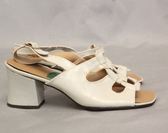 1960's White Patent Leather Sandals - Size 37 #1763