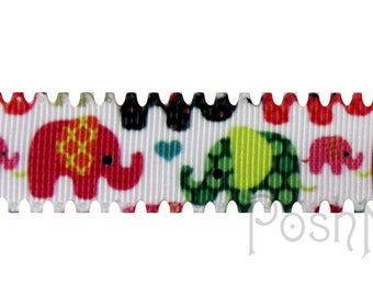 7/8 INCH Scalloped Mod Elephants Print Grosgrain Ribbon- 5 YARDS