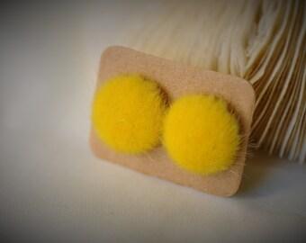 Bouton de boucle d'oreille, jaune ronde moelleux Stud Earrring ~ 16 mm - filles / Casual / Cutie