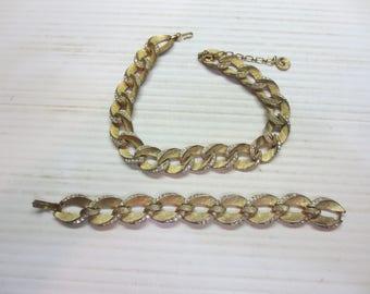 Lisner Loop Necklace & Bracelet With Rhinestones