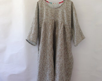 Ready to Ship size Small Clothing Womens Gatherer Dress Smock pure Linen Sustainable Eco Handmade Pockets natural fibre woven cloth