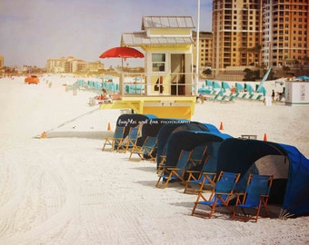 Lifeguard Photo, Beach Photography, Clearwater Florida Travel Art, Blue Yellow Tropical Coastal House Decor, Nautical Home Decor Wall Art