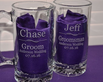 Personalized Engraved Bachelor Party Mugs, Large 27 oz Glass Beer Stein, Grooms Gifts, Groomsman, Best Man, Usher, Wedding Party Favors