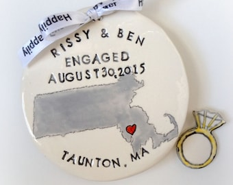 Personalized state map engagement gift Christmas ornament handmade pottery by Cathie Carlson