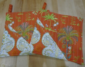 Quilted Hot Pads,Hot Pad,Hot Pads,Monkey,Monkey Pot Holders,Pot Holders,Pot Holder, Tropical Kitchen,Orange Hot Pads