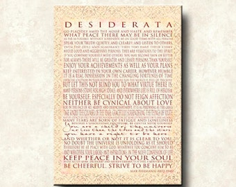 DESIDERATA - Word Art Prints - 20x24 Gallery Mount Canvas Vertical - You are a child of the universe - Max Ehrmann Motivational