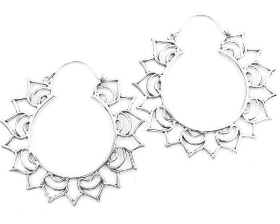 Large Mandala Hoop Earrings, Ornate Ethnic Hoop Earrings, Tribal Brass Earrings, Festival Earrings, Gypsy Earrings, Hoop Earrings