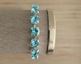 Turquoise + Silver Handmade Swarovski Crystal Bracelet, Turquoise Jewelry, Swarovski Jewelry, Weddibg Bracelet, Something Blue