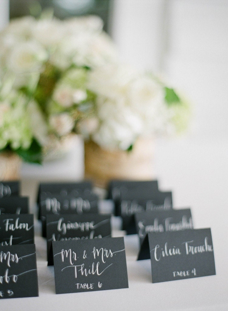 Wedding Black Name Place Cards Escort Cards Table Cards