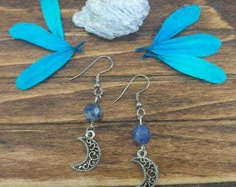 Blue Sodalite Moon charm Dangle Earrings