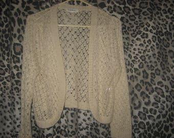 Loose Knit Off-White Bolero Style Short Sweater