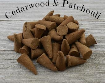 Cedarwood & Patchouli Incense Cones - Hand Dipped Incense Cones