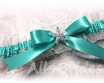 Starfish wedding bridal garter, Aqua Blue, Navajo Turquoise bridal leg garter.