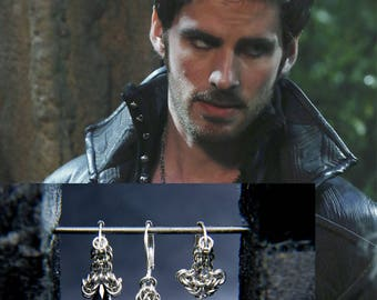 Fashionable Captain Hook Earring Set / Once upon a Time Fandom Jewelry Set / Cosplay / Captain Swan Earring set / Chainmaille Fandom