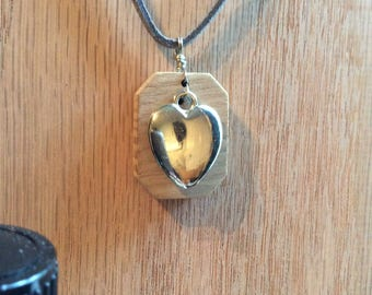 Wood Diffuser Necklace with Heart Charm
