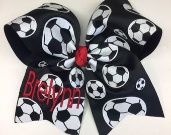 Soccer Bow, Personalized Name, Any Colors Monogram Hair Bows, Embroidered Gift, Ball Hairbows, Customized, Monogrammed Kids, Large Big, Neon